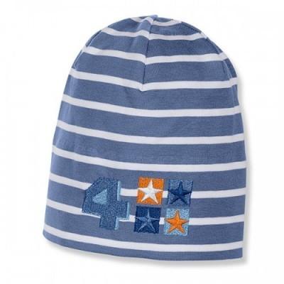 Jarná bavlnená čiapka pre chlapčekov s UV 50+ modro-biela