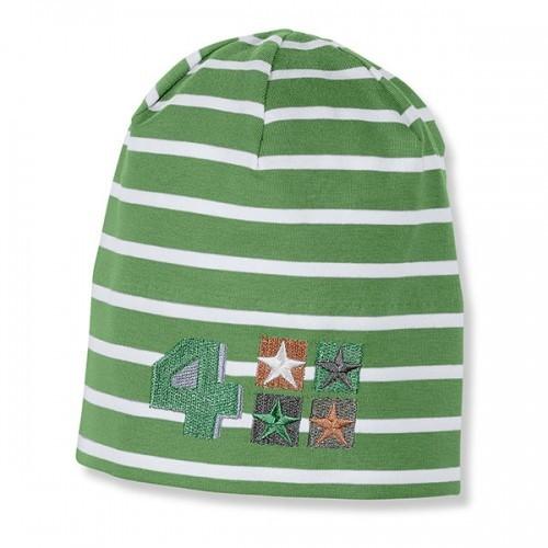 Jarná bavlnená čiapka pre chlapčekov s UV 50+ zeleno-biela