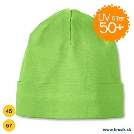 Jarná bavlnená čiapka pre chlapčekov s UV 50+ zelená