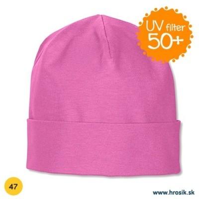 Jarná bavlnená čiapka pre dievčatká s UV 50+ fialová