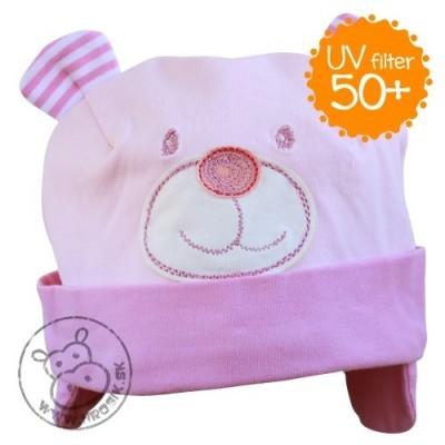 Jarná bavlnená čiapka pre dievčatá s UV 50+ ružový macko