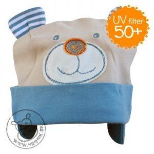 Jarná bavlnená čiapka pre chlapčekov s UV 50+ modro-hnedý macko