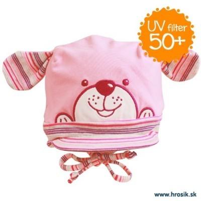 Jarná bavlnená čiapka pre dievčatká s UV 50+ ružový psík