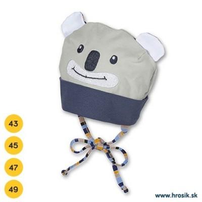 Jarná bavlnená čiapka pre chlapčekov s UV 50+ modro-sivá koala