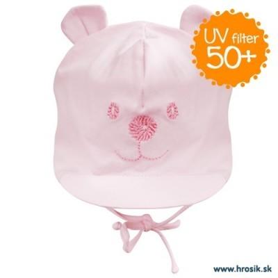 Jarná bavlnená čiapka pre dievčatká s UV 50+ svetloružový macko