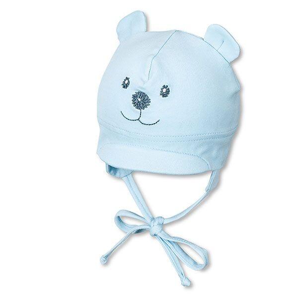 Jarná bavlnená čiapka pre chlapčekov s UV 50+ svetlomodrý macko