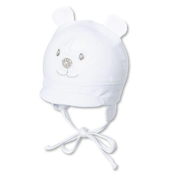 Jarná bavlnená čiapka UNI s UV 50+ biely macko
