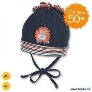 Jarná bavlnená čiapka pre chlapčekov s UV 50+ tmavomodrý levík