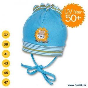 Jarná bavlnená čiapka pre chlapčekov s UV 50+ modrý levík