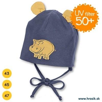 Jarná bavlnená čiapka pre chlapčekov s UV 50+ tmavomodrý hrošík