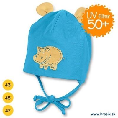 Jarná bavlnená čiapka pre chlapčekov s UV 50+ modrý hrošík
