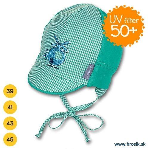 Letná bavlnená čiapka pre chlapčekov s UV 50+ zelená