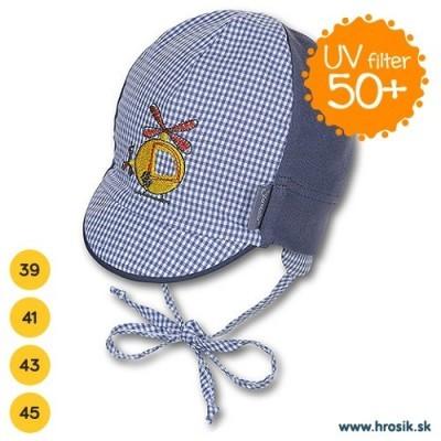 Letná bavlnená čiapka pre chlapčekov s UV 50+ tmavomodrá