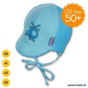 Letná bavlnená čiapka pre chlapčekov s UV 50+ modrá