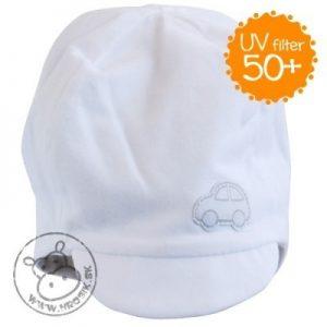 Letná bavlnená čiapočka pre chlapčekov s UV 50+ biela