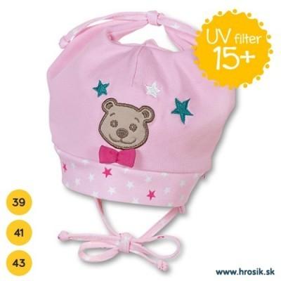 Jarná bavlnená čiapka pre dievčatká s UV 15+ ružová