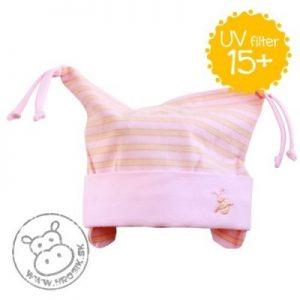 Jarná bavlnená čiapka pre dievčatká s UV 15+ svetloružová