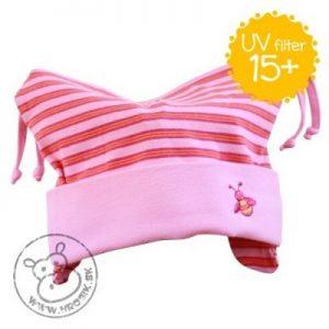 Jarná bavlnená čiapočka pre dievčatká s UV 15+ ružová