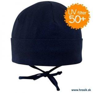 Jarná bavlnená čiapka pre chlapcov s UV 50+ tmavomodrá