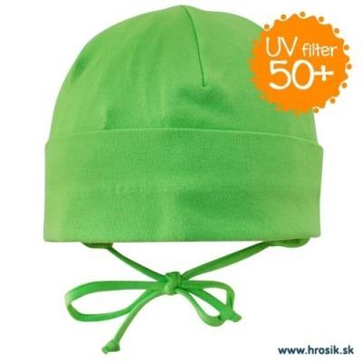 Jarná bavlnená čiapka pre chlapcov s UV 50+ zelená
