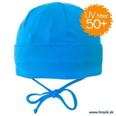 Jarná bavlnená čiapka pre chlapcov s UV 50+ modrá