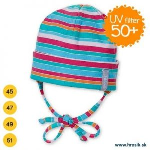 Jarná bavlnená čiapka pre dievčatá s UV 50+ ružovo-zelená