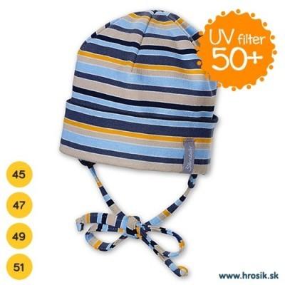 Jarná bavlnená čiapka pre chlapcov s UV 50+ modro-žltá
