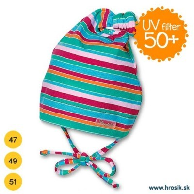 Jarná bavlnená čiapka pre dievčatká s UV 50+ ružovo-zelená