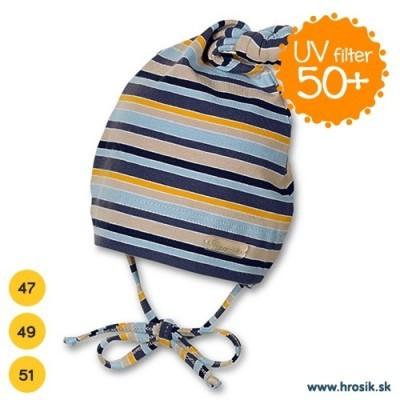 Jarná bavlnená čiapka pre chlapčekov s UV 50+ modro-žltá