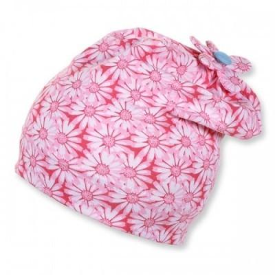 Jarná bavlnená čiapka pre dievčatá s UV 50+ ružová s kvietočkami