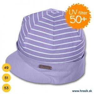 Jarná bavlnená čiapka so šiltom pre chlapcov s UV 50+ fialová