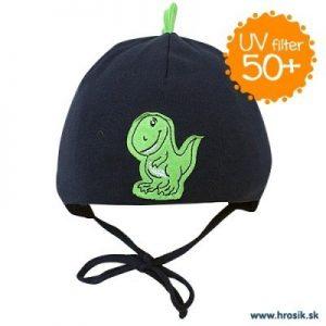 Jarná bavlnená čiapka pre chlapcov s UV 50+ tmavomodrý dinosaurus