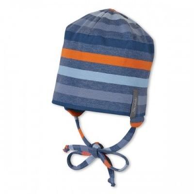 Jarná bavlnená čiapočka pre chlapcov s UV 50+ modro-oranžová