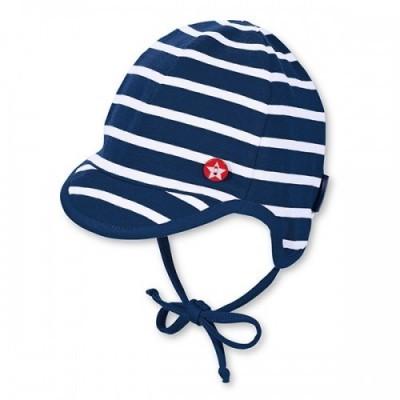 Jarná bavlnená čiapočka pre chlapcov s UV 50+ modro-biela