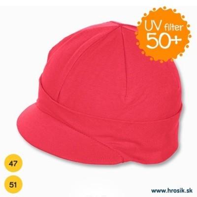 Jarná bavlnená čiapka so šiltom pre dievčatá s UV 50+ malinová