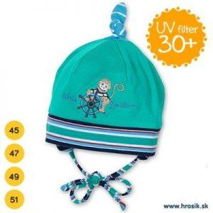 Jarná bavlnená čiapka pre chlapcov s UV 50+ zelená opička