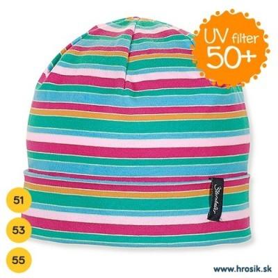 Jarná bavlnená čiapočka pre dievčatá s UV 50+ ružovo-zelená