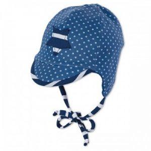 Jarná bavlnená čiapka pre chlapčekov s UV 50+ tmavomodrá s hviezdičkou