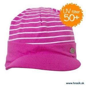 Jarná bavlnená čiapka so šiltom pre dievčatá s UV 50+ fialová