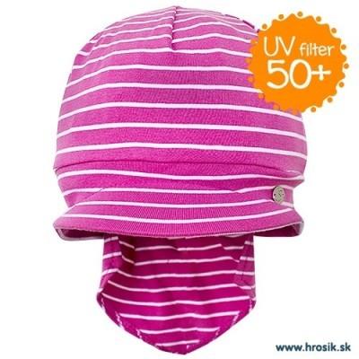 Jarná bavlnená čiapka s plachetkou pre dievčatá s UV 50+ fialová