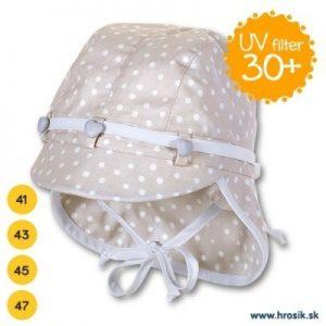 Letná bavlnená čiapka pre dievčatá s UV 30+ béžová