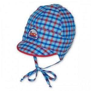 Letná bavlnená čiapka pre chlapcov s UV 30+ modrý vláčik