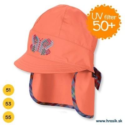 Letná bavlnená čiapka s plachetkou pre dievčatá s UV 50+ oranžová