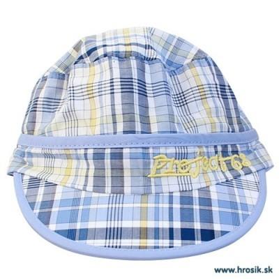 Letná bavlnená čiapka so šiltom pre chlapcov modro-žltá