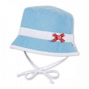 Letný bavlnený klobúčik pre dievčatá s UV 50+ modrý