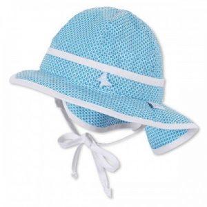 Letný bavlnený klobúčik pre dievčatá s UV 50+ modro-biely
