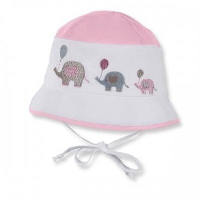Letný bavlnený klobúčik s UV 50+ pre dievčatká ružovo-biely