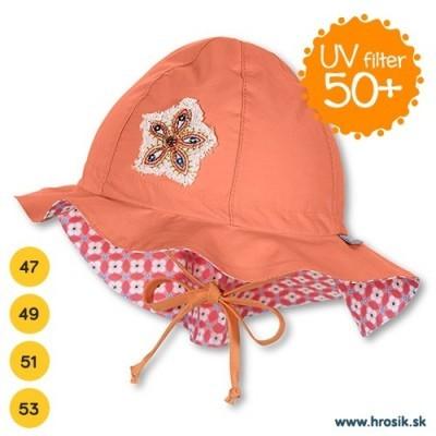 Letný bavlnený klobúčik pre dievčatá s UV 50+ oranžový