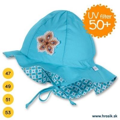 Letný bavlnený klobúčik pre chlapčekov s UV 50+ modrý