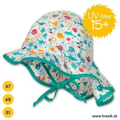 Letný bavlnený klobúčik s plachetkou pre chlapcov s UV 15+ zeleno-biely